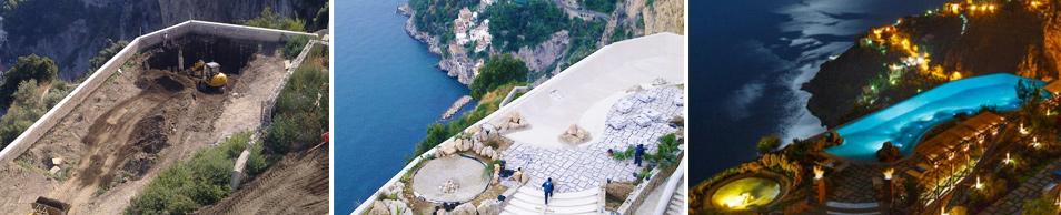 Infinity Pool Piscina a Sfioro Monastero Santa Rosa Luxury Hotel & Spa realizzata da Impresa Edile A.M.C.N. Costruzioni